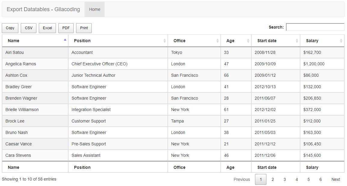 Export 3 File dan Print langsung menggunakan Datatables PHP Laravel